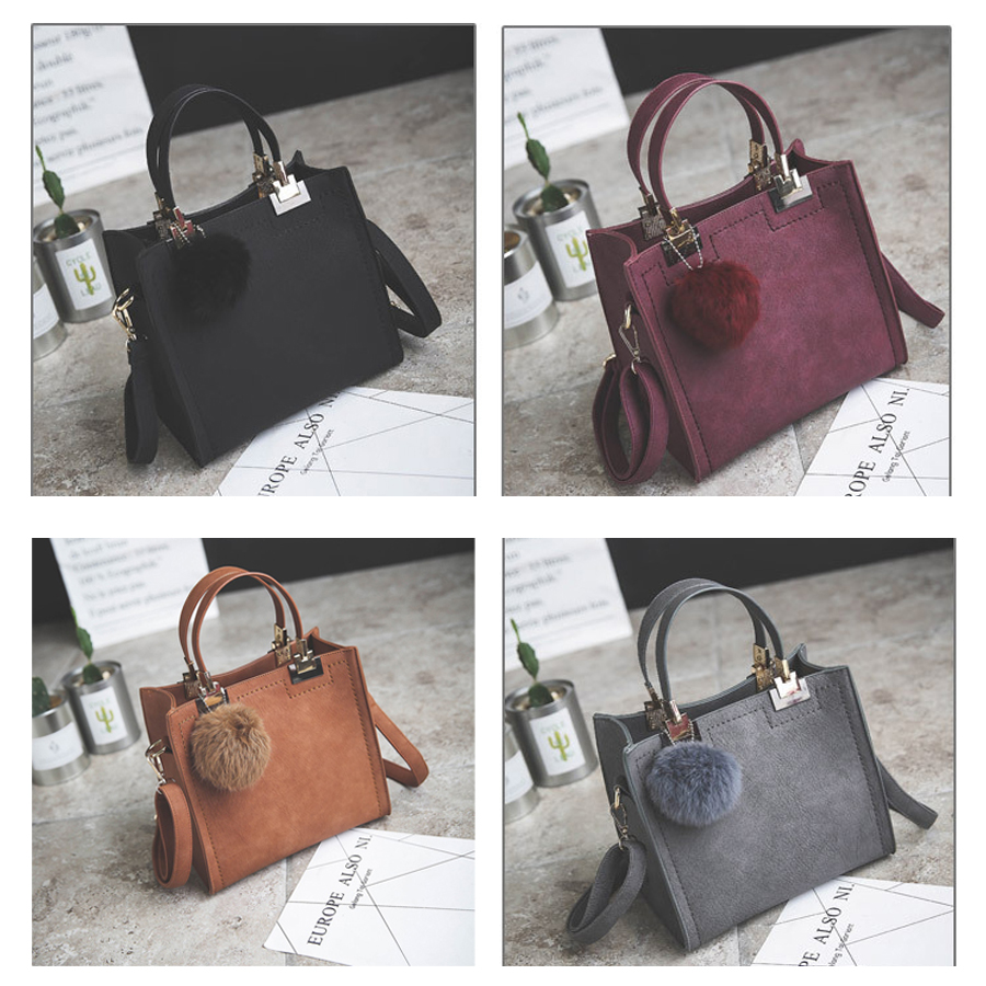 LANLOU handbag women shoulder bag luxury handbags women bags designer High-grade Scrub leather messenger bag Hairball women bag  1