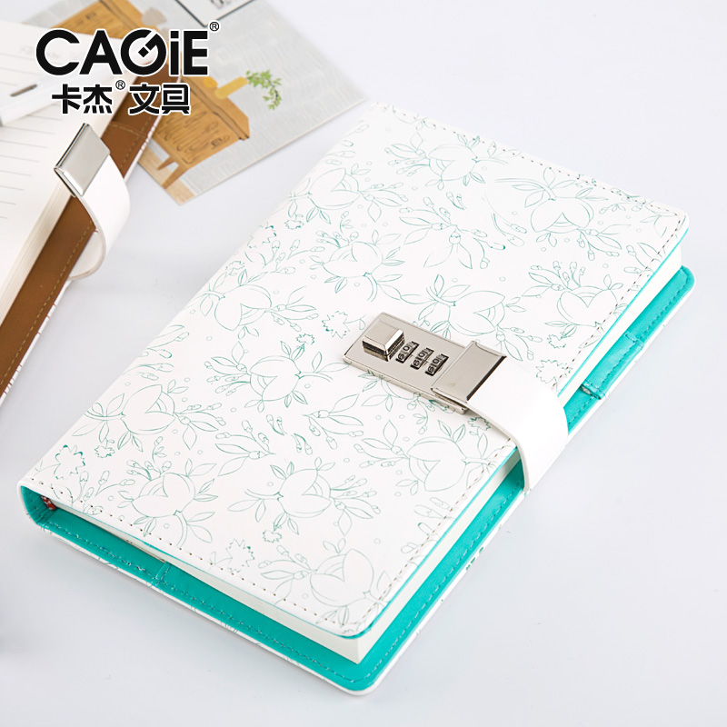 CAGIE Diary with Lock a5 Travelers Notebook Vintage Leather Organizer Notebook Locking Filofax Agenda Password Journals цена