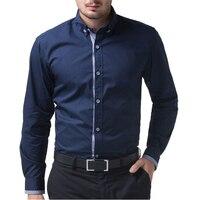 Ünlü Marka İngiliz Stil Slim Fit Şık Erkek Gömlek En Kaliteli Uzun Kollu Iş Rahat Erkek Gömlek erkek Giyim gömlek