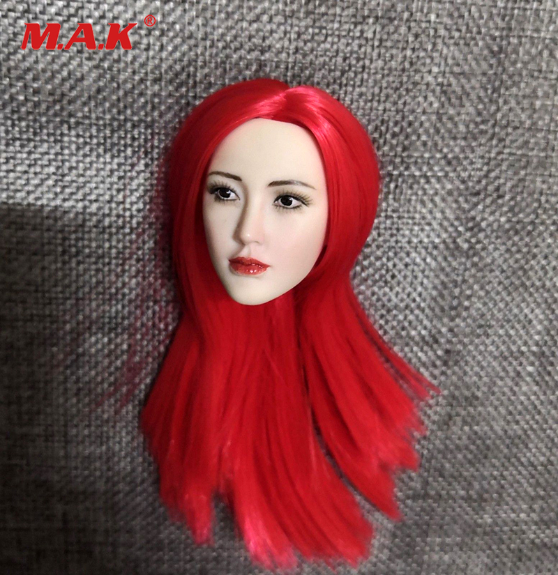 1:6 red Long Hair Asian beauty 1/6 Red Planted Head Sculpt Carving Model Fit 12 Action Figure