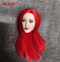 "1:6 red Long Hair Asian beauty 1/6 Red Long Hair Planted Head Sculpt Carving Model Fit 12"" Action Figure"