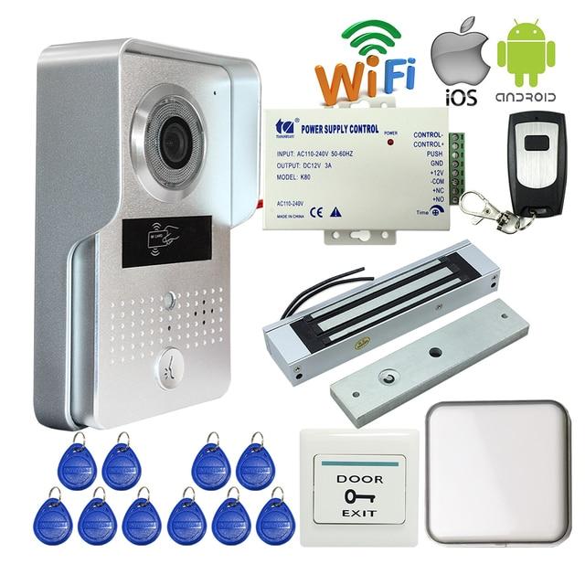 Free Shipping Wireless POE Wifi Doorbell Camera IOS Android Phone Remote View Unlock Metal RFID Door Intercom Magnetic E-Lock