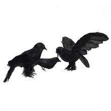3 Pcs Halloween Crow Decoration Halloween Realistic Looking Birds Black Feathered Crows Halloween Prop Decor 24*16cm цена