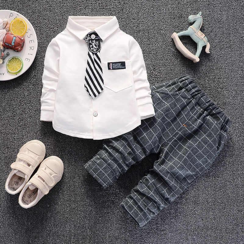Nowonarodzone dziecko chłopcy odzież jesienno-wiosenna zestaw maluch modna koszula + spodnie 2 szt. Garnitury casualowe dla chłopców bebe niemowlęce bawełniane ubrania