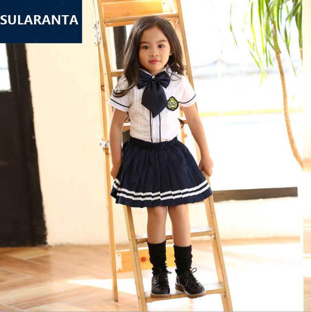 fc6f912f14001 placeholder Niños estudiante coreano japonés Uniformes para el colegio para  Niñas Niños blanco camisa de cuello plisado