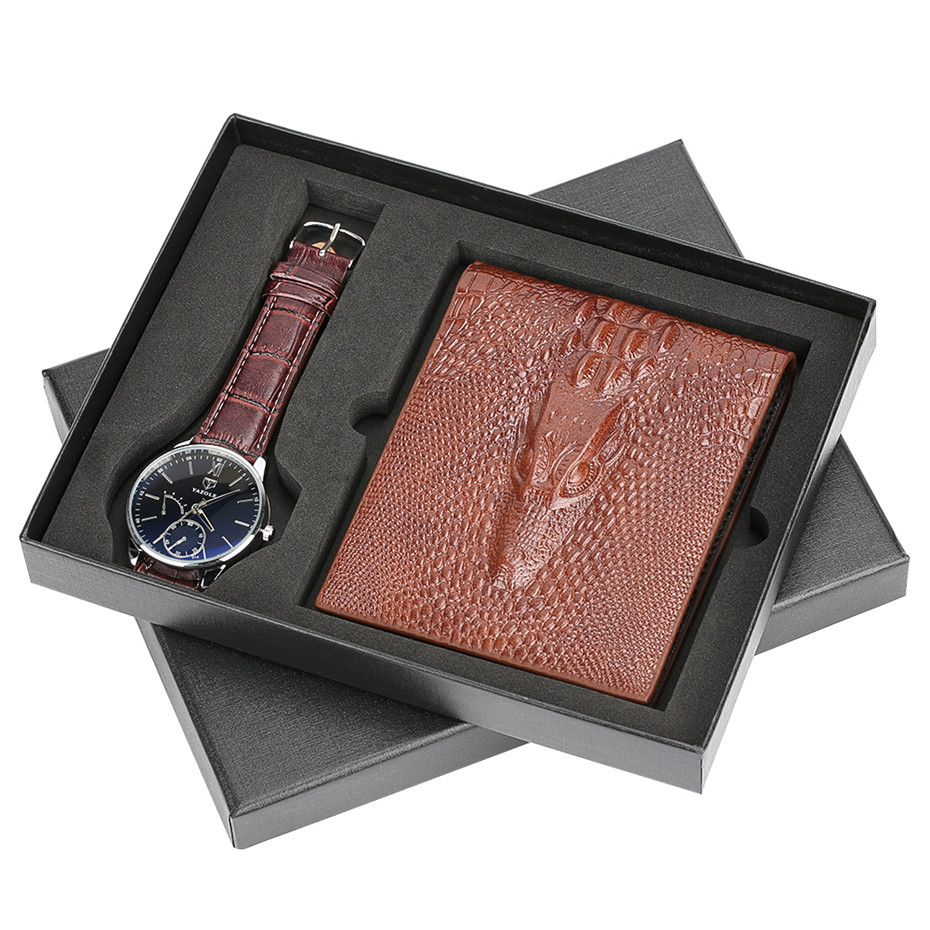 Men Watch leather watch bandMens Quartz Wristwatch Present for Father Boyfriend Brown Leather Wallet Gift Set For Male BusinessMen Watch leather watch bandMens Quartz Wristwatch Present for Father Boyfriend Brown Leather Wallet Gift Set For Male Business