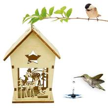 Wood preservative outdoor birds decoration bird house wooden bird cage toy Hanging Decoration #TX4(China)