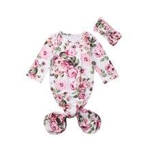 Милая Детская груша для девочек, спальный мешок с длинными рукавами и цветочным принтом и повязка для волос, Очаровательная сумка с цветочным узором комбинезон с покрывалом Пелёнка