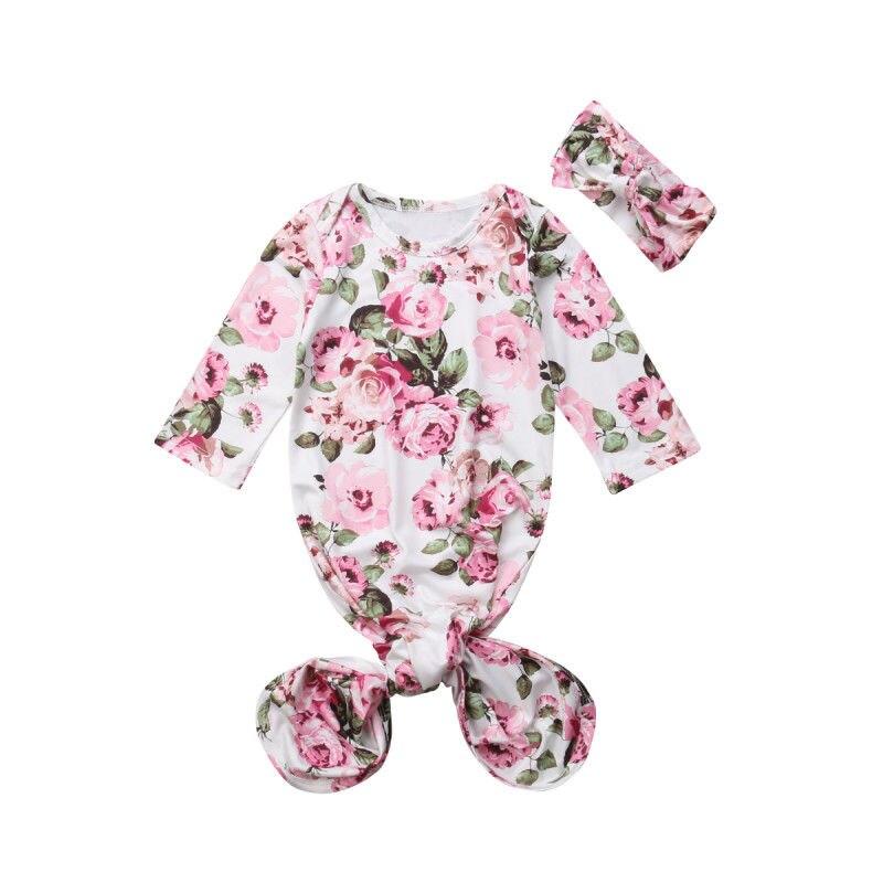 Cute Lovely Baby Girls Grobag Long Sleeve Flowers Printed Sleeping Bag & Hair Band Adorable Floral Bag Wrap Romper Sleep Swaddle