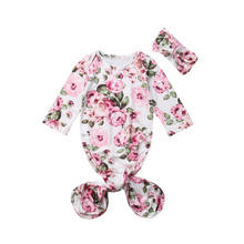 Cute Lovely Baby Girls Grobag Long Sleeve Flowers Printed Sleeping Bag & Hair Band Adorable Floral Bag Wrap Romper Sleep Swaddle(China)