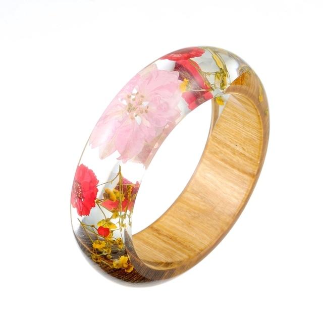 b591f29dd56 Pink Bracelet Femme Resin Wood Women Bracelet Ethnic Flowers Cuff Indian  Jewelry Bijoux Femme Marque De Luxe Girls Gift