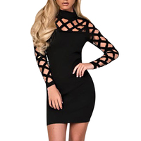 Party Night Turtle Neck Club Dress Hollow Out Mesh Slim Dresses Sexy Skinny Cut Off Black