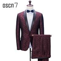 OSCN7 печатные портной костюм Для мужчин 2 предмета High Street вечерние индивидуальный заказ костюмы плюс Размеры модные Нарядные Костюмы для сва