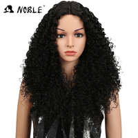 Noble Hair Kinky Curly Synthetic Lace Front Wigs For Black Women Afro Kinky Curly Wig 26Inch 3Colors Available Medium Black
