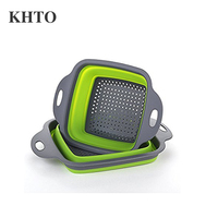 KHTO Foldable Collapsible Kitchen Colander 2 Pcs square Collapsible washing up bowl Silicone Strainer Set