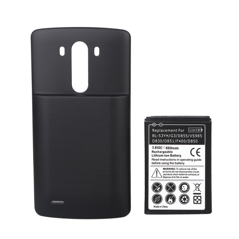 3.8V 6800mAh BL-53YH Rechargeable Replacement Bateria + Black Back Cover Case For <font><b>LG</b></font> <font><b>G3</b></font> <font><b>D855</b></font> VS985 D830 D851 F400 D850 <font><b>Battery</b></font>