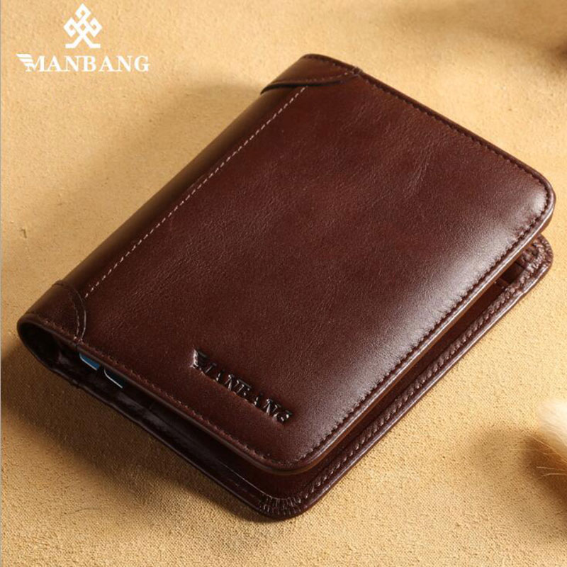 Manbang genuine leather men' s wallet 2017 new fashion first layer cowskin casual solid large capacity purse MBQ0069F large capacity card id holders genuine leather package cluch bag new men s leather wallet fashion leisure leather wallet