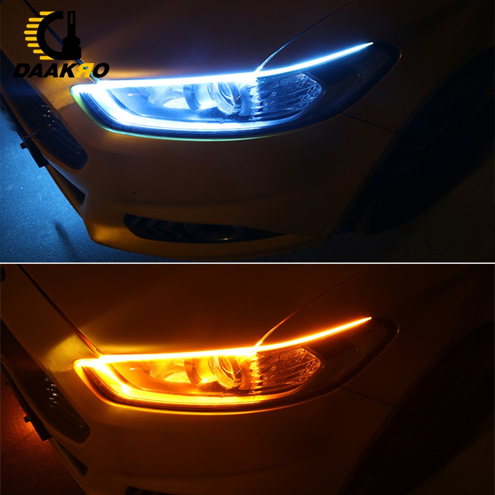 Image 5 - 60CM Universal DC 12V Turn Signal Dual Color LED Strip Light White Yellow High Flexibility 6000K 4500K Flowing Lamp Light-in Signal Lamp from Automobiles & Motorcycles