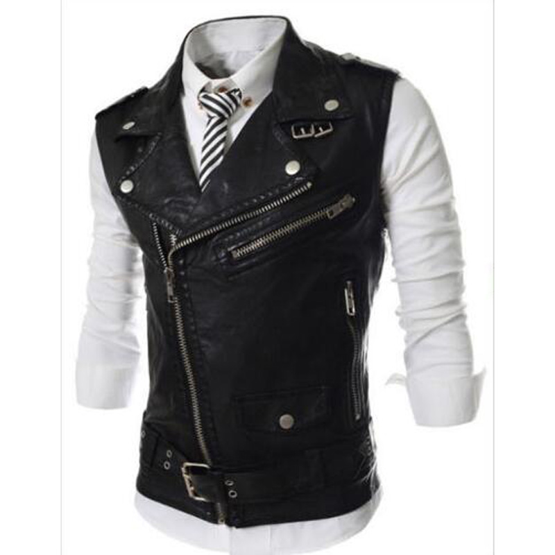 Fashion 2018 Sleeveless Pu Leather Motorcycle Waistcoat Men High Quality Leather Vest Men Slim Fit Size M-2xl Aesthetic Appearance Men's Clothing