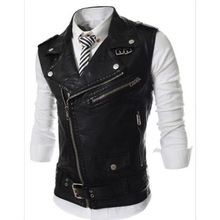 Fashion 2018 Sleeveless Pu Leather Motorcycle Waistcoat Men High quality Leather Vest Men Slim Fit Size M-2XL