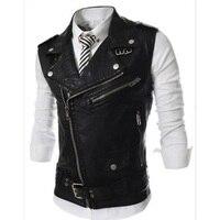 Fashion 2018 Sleeveless Pu Leather Motorcycle Waistcoat Men High quality Leather Vest Men Slim Fit Size M 2XL