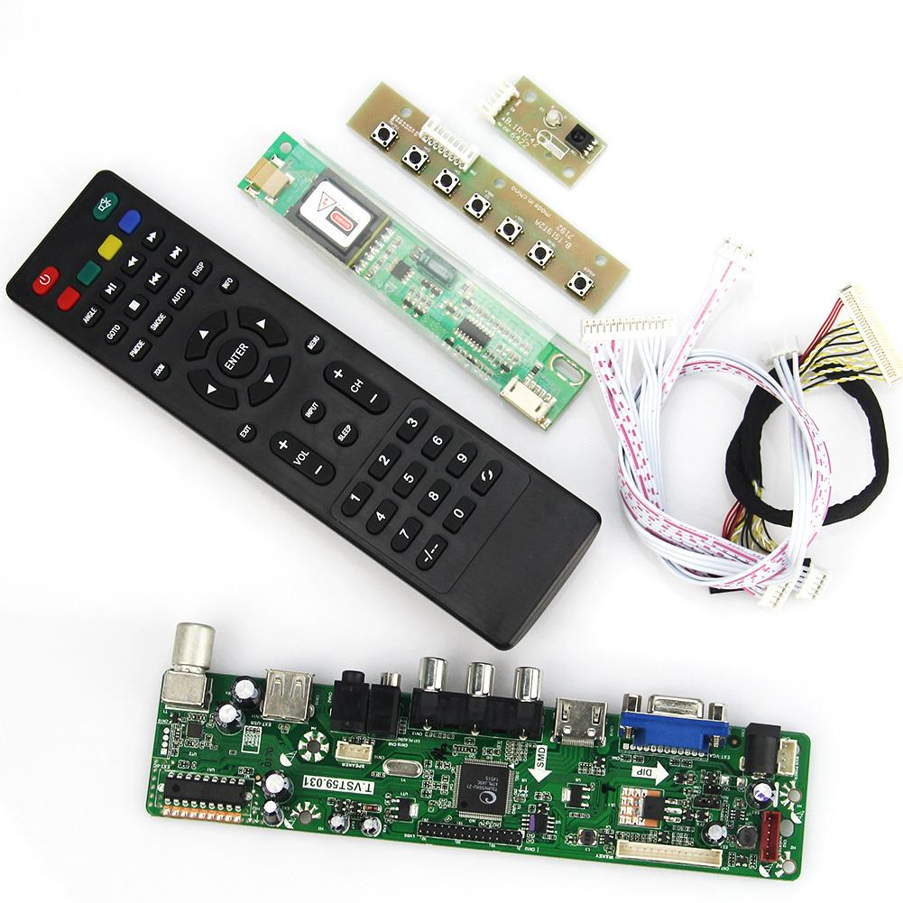 T.VST59.03 LCD/LED Controller Driver Board For B141EW04 V4 QD14TL02 (TV+HDMI+VGA+CVBS+USB) LVDS Reuse Laptop 1280x800 lcd led controller driver board for b156xw02 ltn156at02 t vst59 03 tv hdmi vga cvbs usb lvds reuse laptop 1366x768