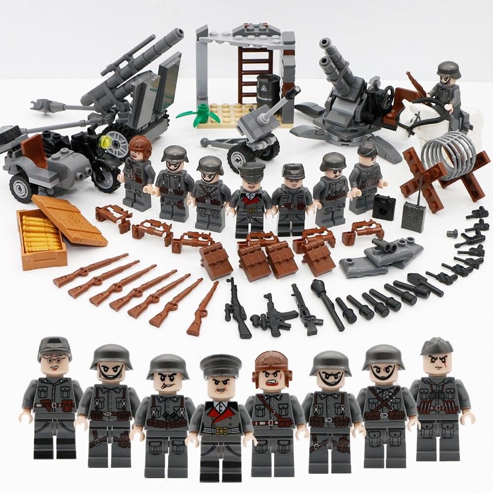 Figura militar Swat equipo ejército Alemania soldados armas alemán Mini ww2 bloques de construcción modernos compatibles Legoed ladrillos de juguete