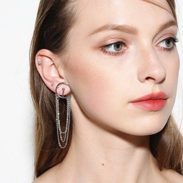 2017 New Elegant Geometric Chain Tassel Stud Earrings for Women Simple Round Ear Studs Earing Brincos Fashion Jewelry XR428