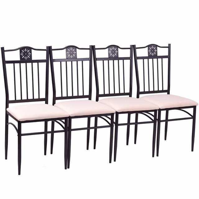 Online Shop Goplus 5 Stück Küche Esszimmer Set Holz Metall Tisch Und