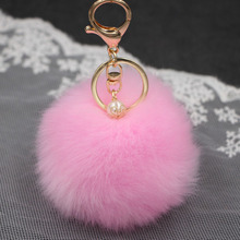 Fluffy Faux Rabbit Fur Ball Pompom Keychain Women Bag Gold Charms Pearl PomPon Key Ring Trinket Car Keyring Chains Female Gift