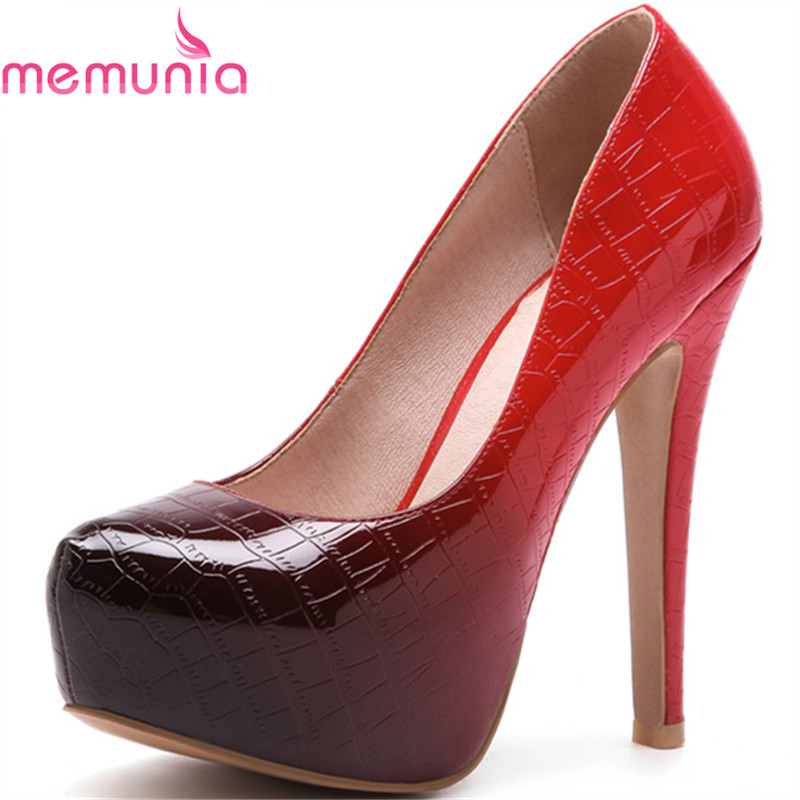 MEMUNIA pumps women shoes spring autumn thin heels platform round toe fashion sexy big size wedding shoes bridal shoes memunia 2017 fashion flock spring autumn single shoes women flats shoes solid pointed toe college style big size 34 47