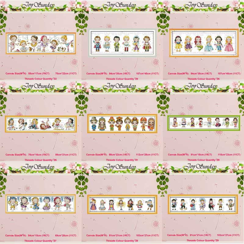 Baby World Festival Boy Girls Counted 11CT 14CT Cross Stitch Set DIY DMC Cross-stitch Kit Embroidery Needlework Home Decor