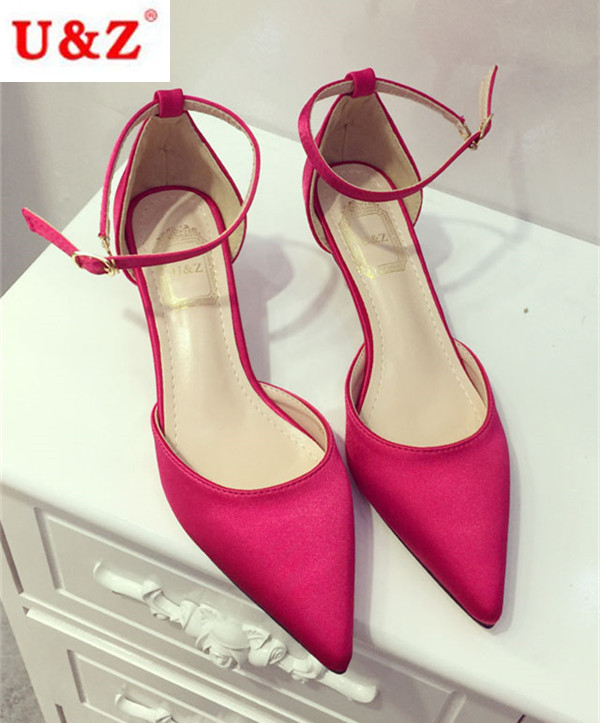 cac7365e34bed Fuchsia Silk Satin wedding shoes 40mm kitten heels, Lattice Satin Low thin heel  pumps women party shoes evening shoes-in Women's Pumps from Shoes on ...