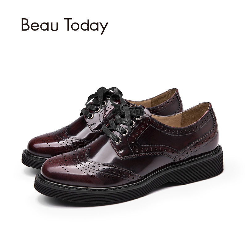 049c833532b3b BeauToday Brogue Shoes Women Genuine Cow Leather Lace Up Flats Round Toe  Glazed Patent Leather 3 Kinds of Shoelaces 21089-in Women's Flats from Shoes  on ...