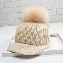 57d3d369b8e 2017 Winter Fashion Women Faux Fur Pom Pom Knitted Baseball Cap Stylish  Curved Brim Hip Hop Caps Gorros Solid Snapback Hats