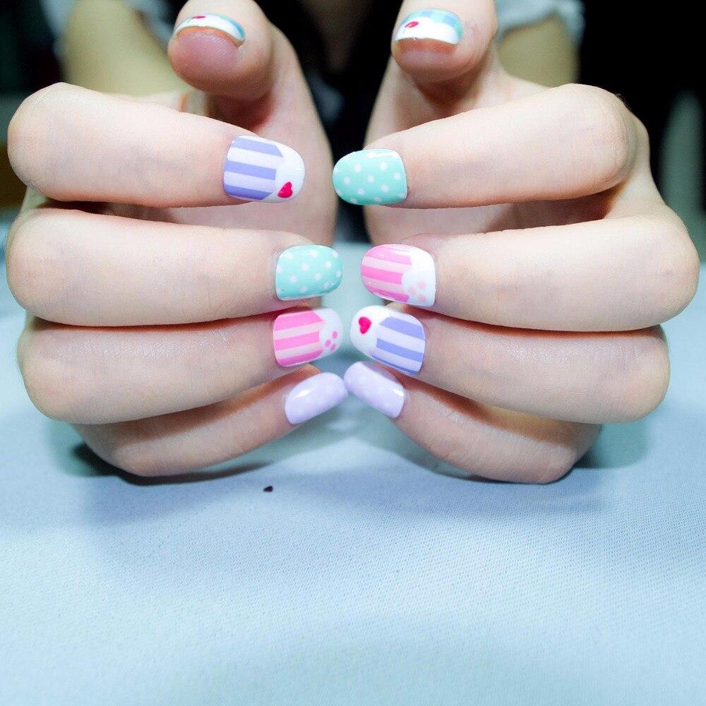 24pcs Popular Cute Pink Fake Nails Hello Kitty Short Candy Spots ...