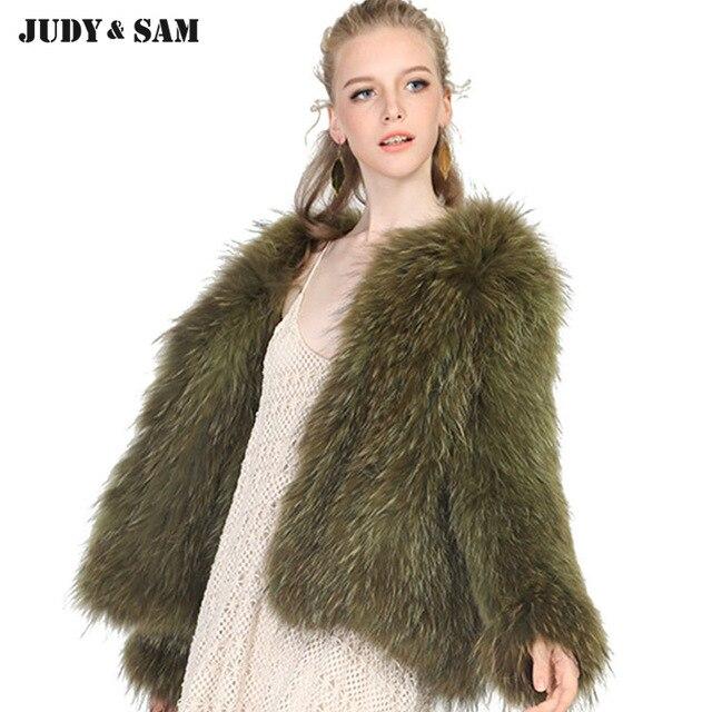 Real Raccoon Fur Coat Winter Women Wear Warm Braided Style Fullfy ...
