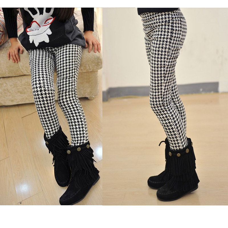 Girls Spring Autumn Pencil Pants Girls Houndstooth Leggings Classical Swallow Gird Skinny Pants Elastic Waist pocket side elastic waist pants