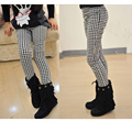Girls Spring Autumn Pencil Pants Girls Houndstooth Leggings Classical Swallow Gird Skinny Pants Elastic Waist