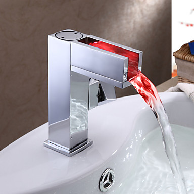 Color Changing Bathroom Faucet with LED Waterfall Water Tap ,Torneiras Para De Banheiro Misturador