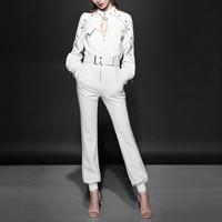 Polyester tracksuits Full Zipper 2018 spring new big European high end Raglan T shirt sexy pants suit fashion female feet