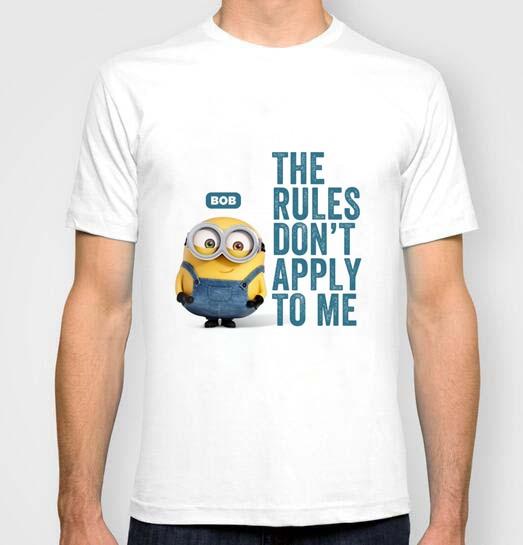 Миньоны Боб правила не распространяются на меня 2016 новые мода мужская Пользовательские футболки Новое Прибытие 100% Хлопка с коротким рукаво...
