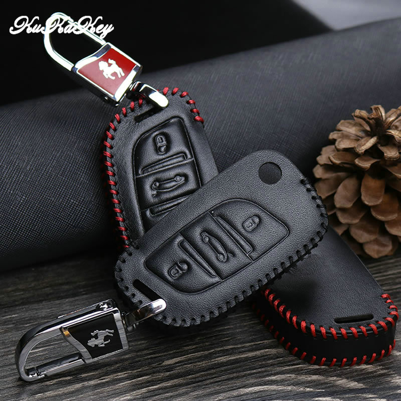 KUKAKEY Genuine Leather Key Fob Cover Case For Citroen C2 C3 C4 C5 C4L DS3 DS4 DS5 DS6 Car Remote Flip Key Shell Protector in Key Case for Car from Automobiles Motorcycles