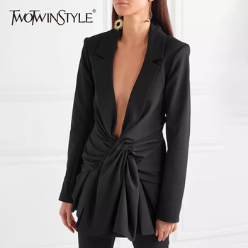 TWOTWINSTYLE Lace Up Women's Jacket Sexy V Neck Long Sleeve Black Blazer Female Coats Spring-autumn Fashion OL Clothing 2019
