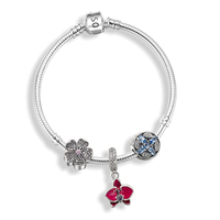 New Coming 925 Sterling Silver Jewelry Pandulaso Charm Bracelet With Real Silver 925 Flowers Beads Spring