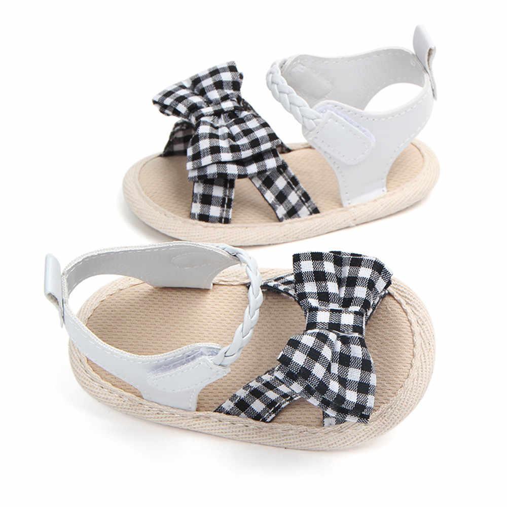 ลายสก๊อตนุ่มสาน Crib Anti-Slip รองเท้าฤดูร้อนรองเท้า Anti-Slip รองเท้าแตะเดี่ยว 2019 เด็กแฟชั่น hook Loop # YL1