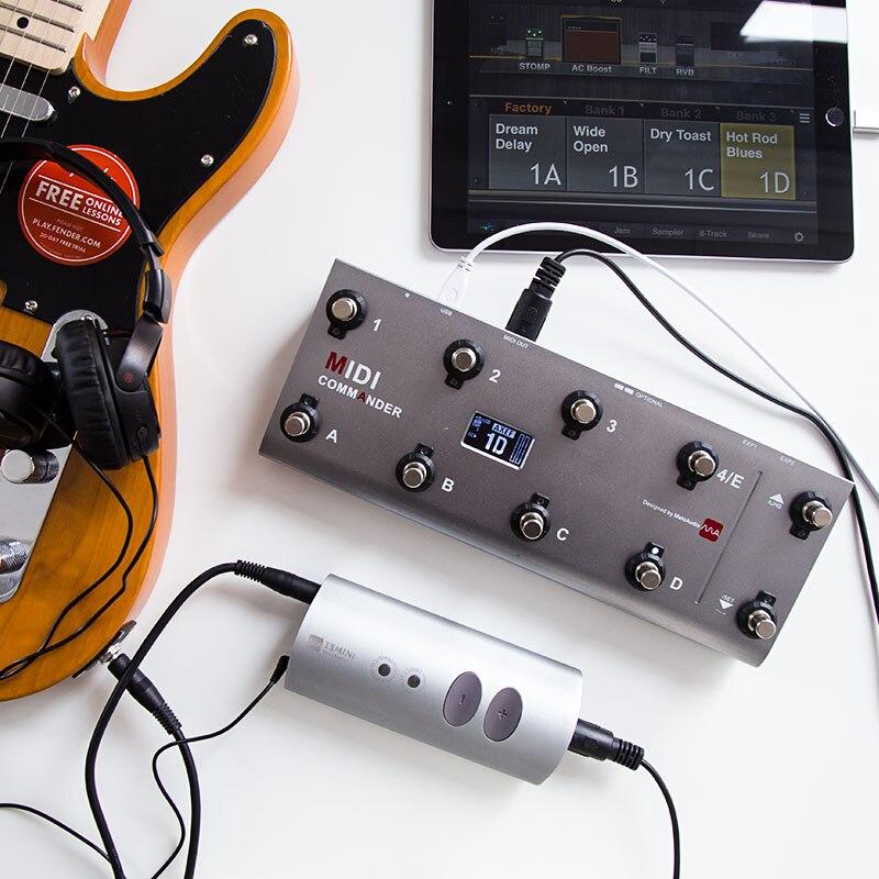 Contrôleur MIDI de pied d'usb portatif de pédale de guitare de commandant de MIDI avec 10 commutateurs de pied assortis à la Mini carte son d'interface Audio de TS