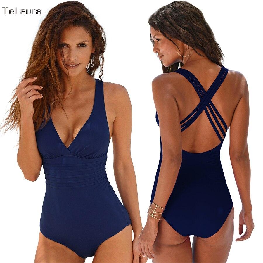 2017 New Vintage One Piece Swimsuit Women Swimwear Push Up Bathing Suit Back Cross Bandage Monokini Beach Wear Retro Swim Suit