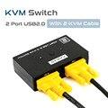 Comutador KVM Mouse Teclado Do Console de Vídeo 2 Portas USB 2.0 Manual interruptor 250 Mhz com Cabo KVM 2016 Novo 2 Computadores Usam 1 monitor de