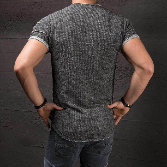 New Hot Sale Ripped Men Slim Fit Cotton Tops T-Shirt Short Sleeve Casual O Neck Tee Shirt 4